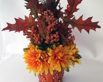 Autumn Rakings Silk Flower Arrangement Leaves & Mums Centerpiece