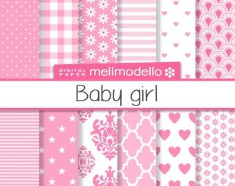 Digital paper, baby girl patterns, download, downloadable,  DIY