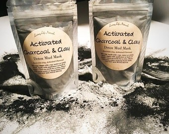 Charcoal Mud Mask, Activated Charcoal & Clay Detox Facial Mud Mask, Charcoal Mud Mask, Detox Mud Mask, Bentonite Clay Detox Facial