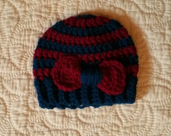 Bow Stripped Stocking Cap Newborn