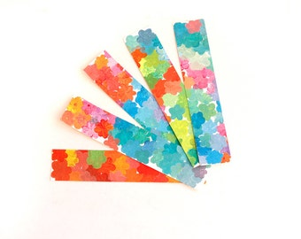 Set of five cardboard handpainted bookmarks, flowers bookmark, colored bookmark