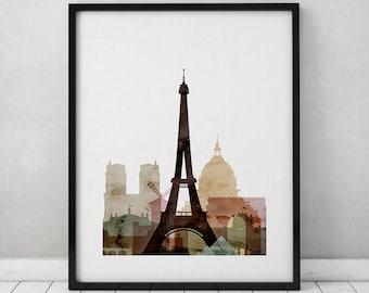 Paris watercolor print, Paris watercolor poster, Wall art, Paris skyline, cities poster, typography art, digital watercolor ART PRINTS VICKY