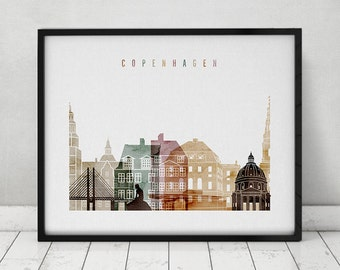 Copenhagen print, watercolor poster, Wall art, Copenhagen skyline, cities poster, Copenhagen Denmark print digital watercolor ArtPrintsVicky