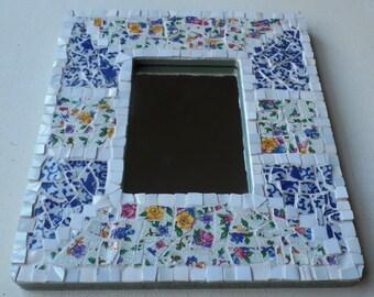 Floral Mirror Vintage China Mosaic Frame