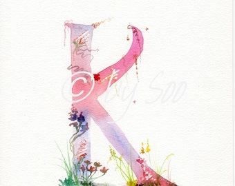Letter K Watercolour Monogram Print