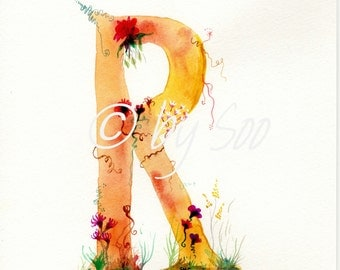 Letter R Watercolour Monogram Print