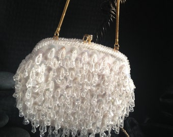 Beaded evening bag, Handmade British Crown Colony Hong Kong for Broadway