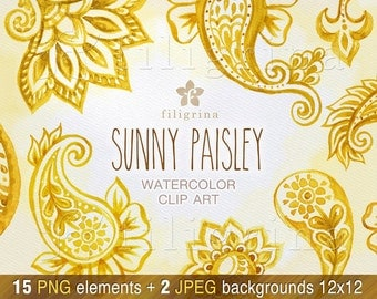 SUNNY PAISLEY watercolor Clip Art. Yellow, gold, floral ornament, boho, oriental, indian digital stamp, flowers. 15 elements. Commercial use