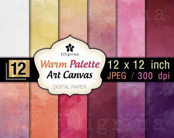 ART CANVAS warm palette digital paper. Creative brush strokes. Artistic textures 12x12 inches, 12 pcs printable backgrounds. Commercial use