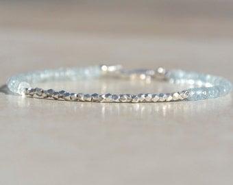 Aquamarine Bracelet, March Birthstone Bracelet, Beaded Gemstone Bracelets, Aquamarine Birthstone, Gift for Her, Bride Bridesmaid Gift