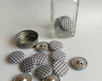 FABRIC COVERED BUTTONS Crafting Accessories Decorations Grey and White Checked Wrapped Round, 16 Buttons and Glass Jar