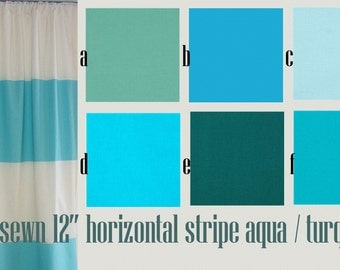 Horizontal Striped Curtain Panels Turquoise  Aqua and Cream Pair Lined