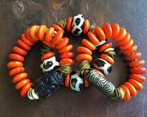 20% OFF Orange Turquoise African Kenya Bone and Brass Stretch Bracelets