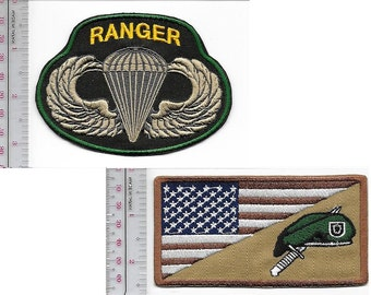 Ranger US Army Green Beret Special Forces Group Airborne & SF Parachutist Wings
