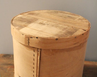 Vintage Wooden Cheese Box with Lining and Lid, Antique Cheese Box with Lining, Circular Storage, Wooden Box, Wooden Lid