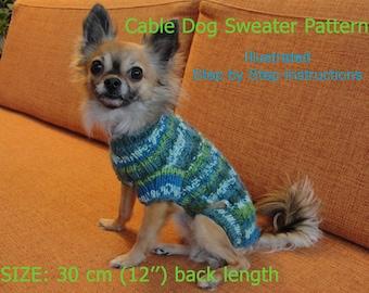 Dog Sweater Pattern - 30 cm (12'') back length/ DIY Dog Sweater/ Hand Knit Dog Sweater Pattern/ How to knit a dog sweater