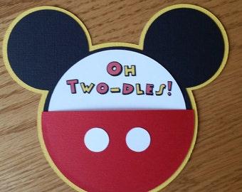 Mickey Mouse Birthday Invitation - Homemade, diecut, cardstock, Mickey Mouse Ears Birthday Invitation