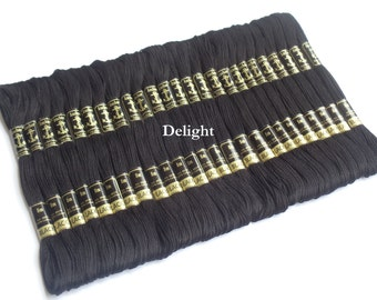Beautiful 24 Black Anchor Cross / Long Stitch Cotton Embroidery Thread skeins / Floss