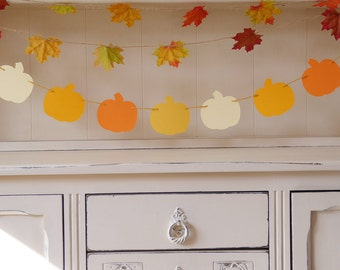 Little pumpkin and autumn maple leaf garland for a birthday, baby shower, harvest themed decor and photo prop