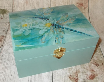Dragonfly Jewellery Box, Wood Box - Jewelry Box - Decorative Box - Wooden Box Shabby Chic, Blue Trinket Box Dragonfly , Gift for her,