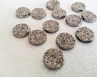 14mm Gunmetal, Metallic Dark Gray Faux Druzy Cabochon - 8 Pcs