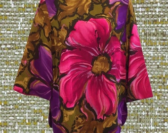 Vintage 1960's Bold Floral Shirt • Hot Pink and Purple • Bell Sleeves