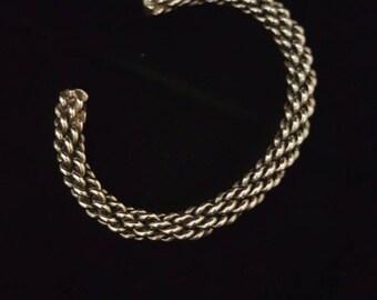Navajo woven sterling silver bracelet