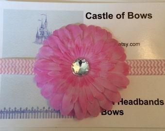 Pink Gerber Daisy Flower wih Chevron Headband