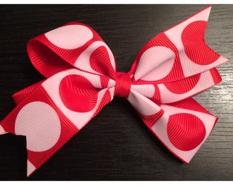 Girls Red and White big circle bow hair clip