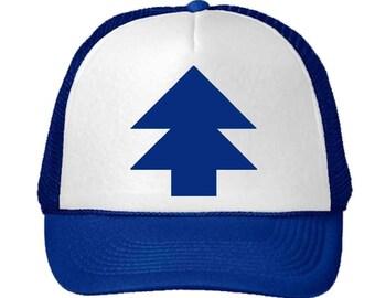 Trucker Curved Bill 'BLUE PINE TREE' Dipper Gravity Falls Hat Cap