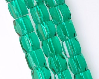 9mm x 10mm Green Russian Cut Glass Beads - Vintage Czech Glass Beads - Qty 20 or 60