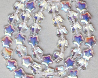 6mm Glass Star Bead - Czech Glass Beads - Various AB Colors - Qty 50