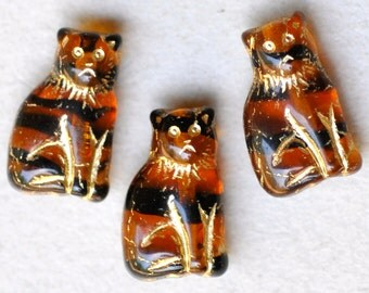 15mm Seated Cat Bead - Czech Glass Cat Beads - Various Unique Colors - Qty 10