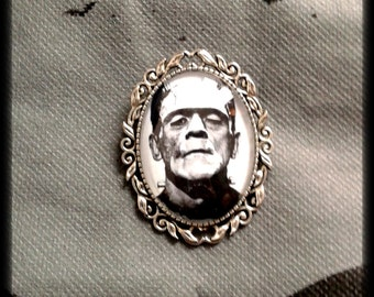 "Brooch or cameo with Frankenstein. ""Frankenstein"" Cameo Silver Brooch or Pendant"