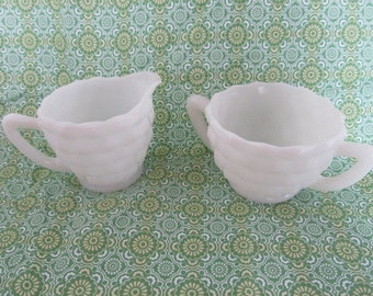 VINTAGE MILK GLASS sugar and Creamer set c. 1960