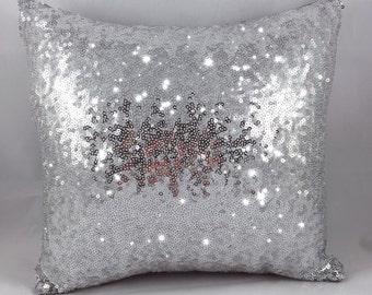 Silver Sequin Pillow Cover- Zippered