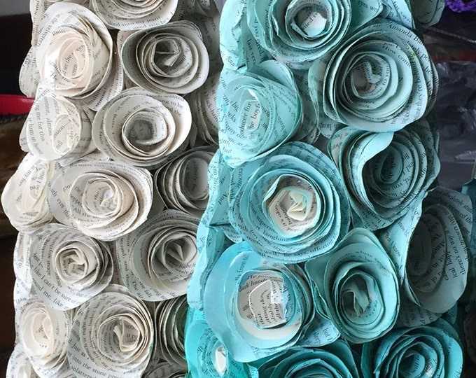 Rolled Rose Cone Decorations, Painted Rolled Book Page Roses, Plain Book Page Roses, Home Decor