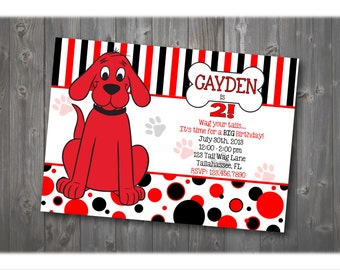 Clifford Birthday Invitation, Dog Birthday Invitation, Party Invitation, Birthday Invitation