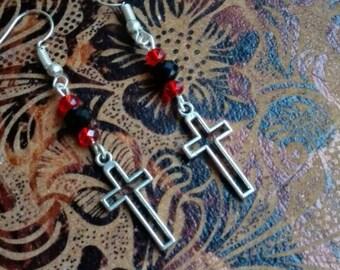 Vampire blood cross earrings