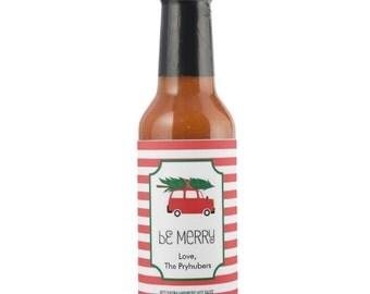 Personalized Be Merry Red Savina Habanero Sauce Bottle, Custom Christmas Habanero Sauce