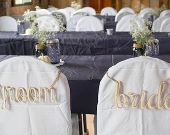 Wood Laser Cut Bride & Groom Chair Signs