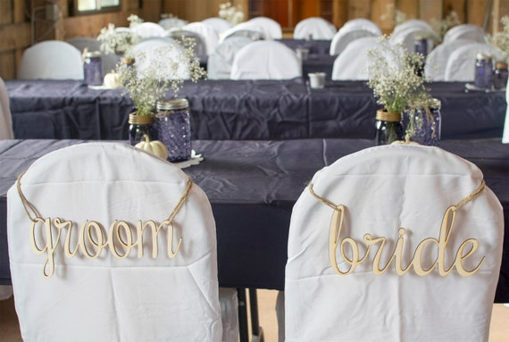 Wood Laser Cut Bride & Groom Chair Signs