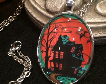 Green Black and Orange Haunted House with Bats Bronze or Silver Halloween Pendant Necklace