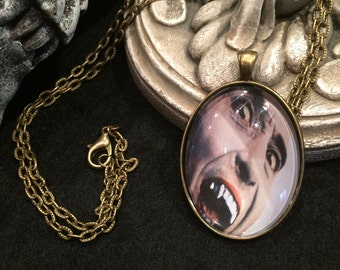 Vintage 1966 Horror Movie Classic Dracula Prince of Darkness Christopher Lee Bronze or Silver Pendant Necklace Hammer Films Vampire