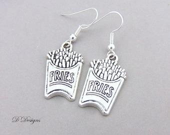 Fries Earrings, Chip Earrings, Fries Jewellery, Sterling Silver Earrings, Fast Food Gifts, Potato Chip Earrings, Junk Food Jewellery