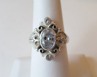 Sterling Silver 925 Stamped, Faceted Glass Stone Ring, Size 8.