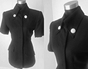 VTG Badgley Mischka Chic Black Rhinestone Button Accent Jacket Top    Vintage Size 12