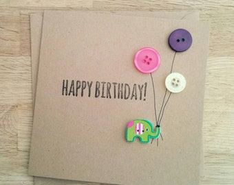 Handmade Happy Birthday card with elephant and balloon buttons