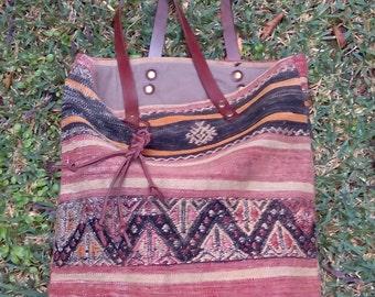 Old kilim, warm colours, handles leather bag, 42 x 39 cm, unique bag.