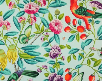MANUEL CANOVAS SERENDIP West Indies Tropical Print Fabric 5 Yards Turquoise Multi